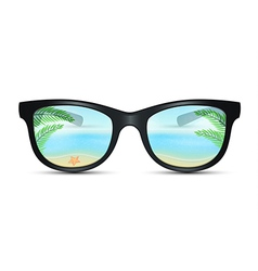 Summer sunglasses with beach reflection vector image vector image