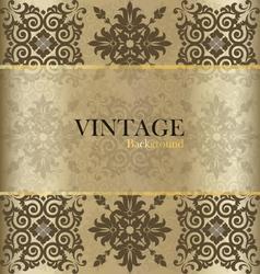 Vintage background with golden vintage label vector image vector image