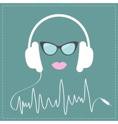 White headphones with digital track line cord vector image vector image