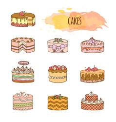 cake hand drawn set vector image