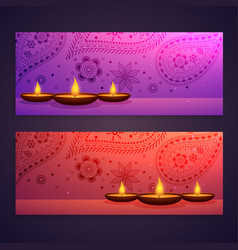Set of diwali festival banners vector