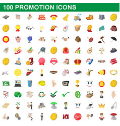 100 promotion icons set cartoon style vector