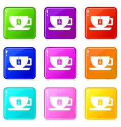 Cup of tea with tea bag set 9 vector