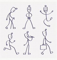 Stick figure of man with different poses vector