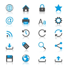 Web flat with reflection icons vector image