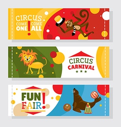 Circus banners with animals vector