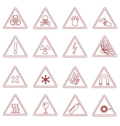 16 various danger signs types outline icons eps10 vector