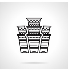 Flat line disposable cups icon vector