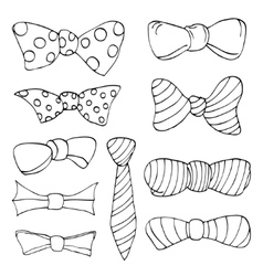 Set of colorful bow tie in different colors vector