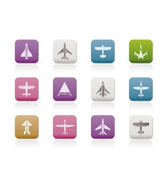 Different types of plane icons vector