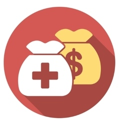 Health care funds flat round icon with long shadow vector