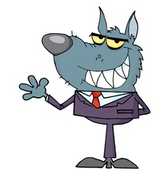Wolf business man waving a greeting vector