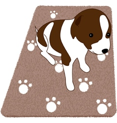 Puppy on rug vector