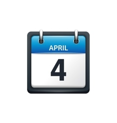 April 4 Calendar icon flat vector image