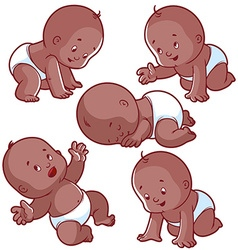 Baby toddler set with babies in diapers crawling vector