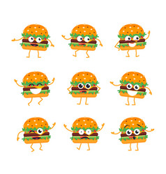 burger - set of mascot vector image vector image
