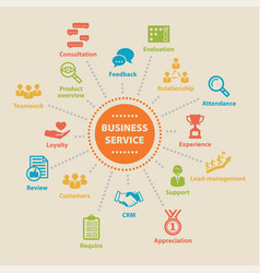 business service concept with icons vector image