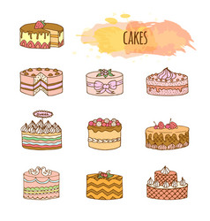 cake hand drawn set vector image