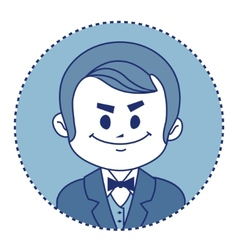 Character rich banker in suit with bow tie vector