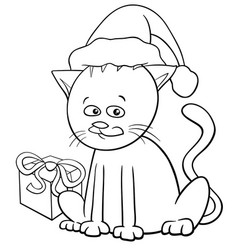 Christmas cat cartoon coloring book vector