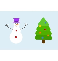 Christmas tree with snowman decoration concept vector