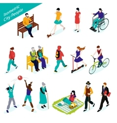 City People Isometric Set vector image vector image