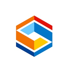 Cube abstract geometry color logo vector