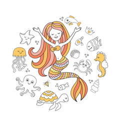 cute little mermaid and sea animals under the sea vector image
