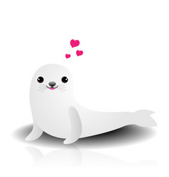 cute seals with heart shape on white background vector image vector image