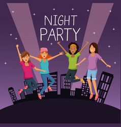 Friends at night party vector