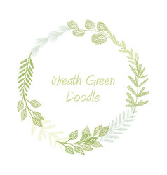 green hand drawn leaves and grass wreath vector image