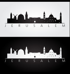 Jerusalem skyline and landmarks silhouette vector