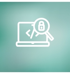 Laptop and magnifying glass looking for security vector image vector image