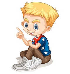 Little boy pointing his finger vector image