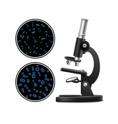 Microscope with petri dish vector