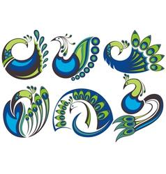 Peacock birds vector image vector image