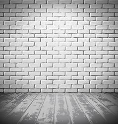 White brick room with wooden floor vector