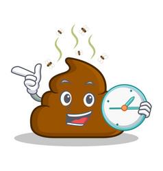 With clock poop emoticon character cartoon vector