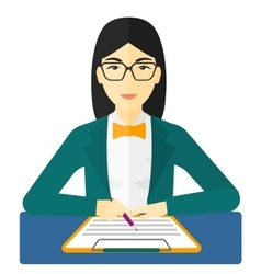 Woman signing contract vector image