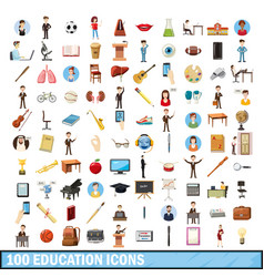 100 education icons set cartoon style vector image vector image