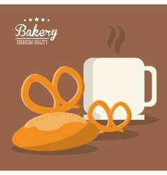 Pretzel bread coffee bakery icon graphic vector