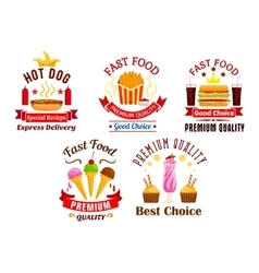 Fast food icons snacks drinks desserts labels vector