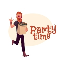 Young hipster in star glasses hurrying to party vector image