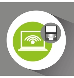 laptop technology wifi internet icon vector image
