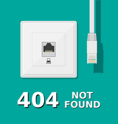 Network socket and unplugged patch cord vector