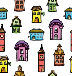 Pattern with cute cartoon colorful houses vector