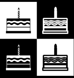 birthday cake sign  black and white icons vector image