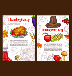 Thanksgiving day sketch holiday posters vector