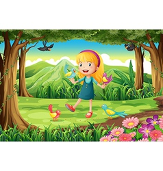 A young girl at the forest with birds vector