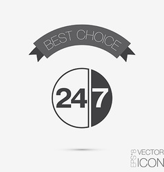 Character 24 7 symbol icon clock service vector